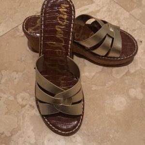 Sam Edelman Gold Metallic Platform Sandal Sz8m